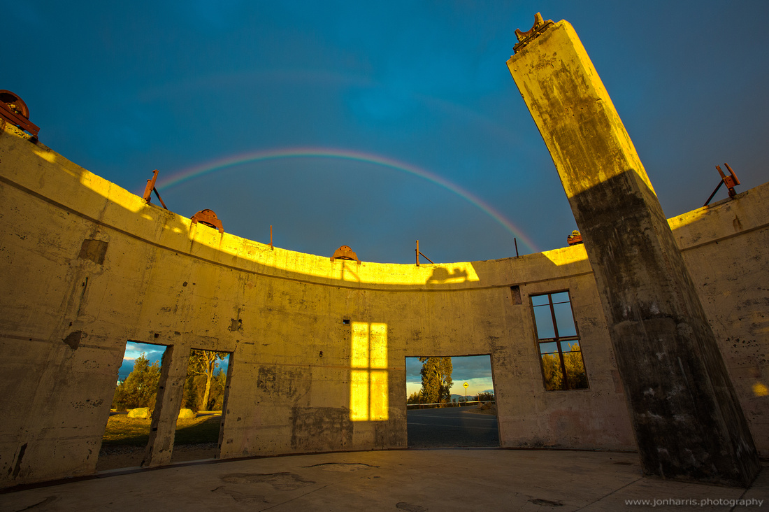 Rainbow over the inside of the observatory, Mt Stromlo
